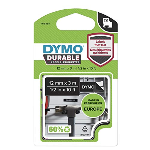 DYMO D1 Hochleistungs-Etikettenband | weiß auf schwarz |12 mm B x 5,5 m L | für LabelManager-Beschriftungsgerät | authentisches Produkt