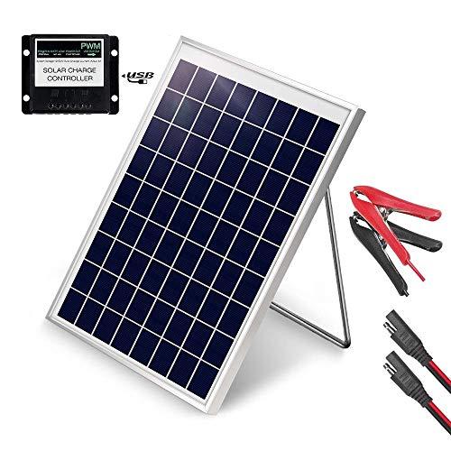 Panel solar portátil de 10 W, panel solar de 12 V, cargador de batería con controlador de 5 A y clip de cocodrilo y soporte de montaje ajustable para coche, barco, motocicleta, tractor