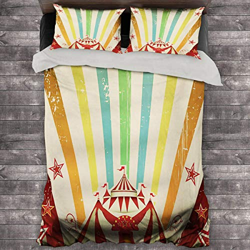 Vintage Rainbow Summer Duvet Cover Old Circus Carnival Advertisement Theme Stripes Stars and Fun Fair Tent King Duvet Cover 68'x86' inch Multicolor