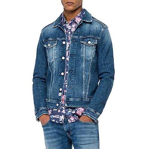 REPLAY MV842 Chaqueta de Jean, 009 Azul Medio, S para Hombre
