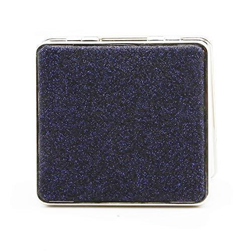Bangle009 Miroir de maquillage de poche carré double face Loupe Bleu foncé