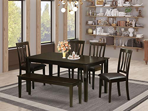 East West Furniture Wooden Dining Table Set 6 Pc - PU Leather Kitchen Dining Chairs Seat - Cappuccino Finish Small Rectangular Dining Table and Bench