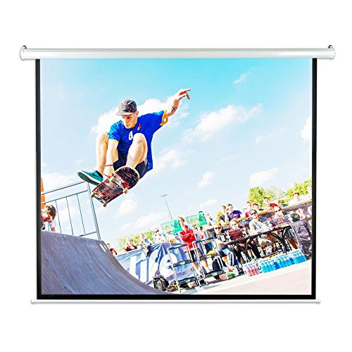 """Pyle 100"""" Portable Motorized Matte White Projector Screen - Automatic Projection Display with Wall /Ceiling Mount Remote and Case - For Home Movie Theater, Slide / Video Showing - PRJELMT106"""