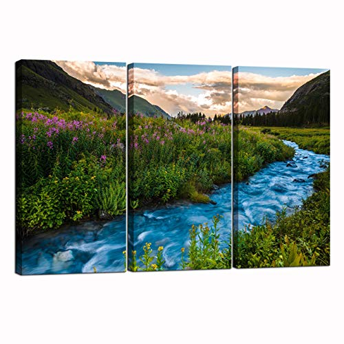 Nachic Wall 3 Piece Canvas Wall Art Colorado Mountain at Sunset Landscape Picture Painting on Canvas USA Nature Photo Scenery Art Work for Home Bedroom Wall Decor Framed Easy Hanging