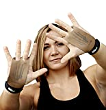Bear KompleX 2 Hole Leather Hand Grips for Gymnastics & Crossfit, Pull-ups, Weight Lifting. WODs w, Wrist Straps. Comfort & Support- Hand Protection from Rips & Blisters. (Tan, Medium)