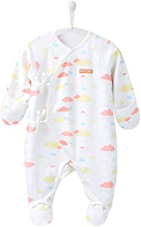 COBROO Baby Footed Sleepers Pajamas with Built-in Mittens 100% Cotton Baby Outfits with Floral Butterflies Print 0-6 Months