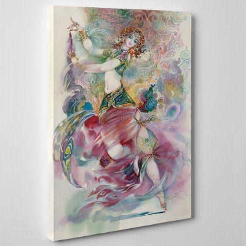 Schilderij op canvas, canvas - BALLERINA INDIANA - Icona Aquarel - Design India BOLLYWOOD BOMBAY - 30 x 40 cm - 4 cm dik