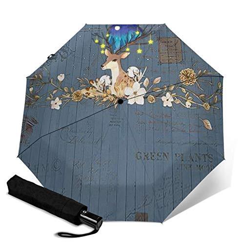 Antelope Faltbarer Regenschirm, Winddicht, UV-Schutz, Kompakter Regenschirm für Reisen, Alltag