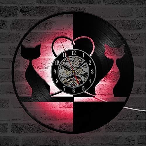 Preisvergleich Produktbild ZhangXF Nette Katze Vinylaufzeichnung Wanduhr,  LED Leuchtende nachtlicht 12 Zoll Vinylaufzeichnung Uhr Dekoration