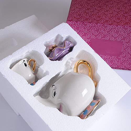 Juego de tetera y taza de la Bella y la Bestia, diseño de mujer Potts con chip, taza de dibujos animados, juego de tetera y taza de Cogsworth, regalo de Navidad para amigos (1 tetera + 1 taza)
