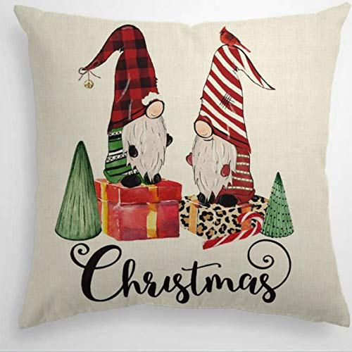 DONL9BAUER Christmas Buffalo Plaid Stripes Gnomes Decorative Square Throw Pillow Covers Winter Holiday Cardinal Tree Cane Candy Farmhouse Cushion Cover for Sofa Couch Home Decor 18x18 inch