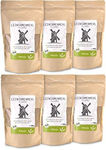 bioKontor // Leinsamenmehl BIO 3kg (6x 500 g) - Leinmehl - teilentölt, low carb, Omega-3-Fettsäuren