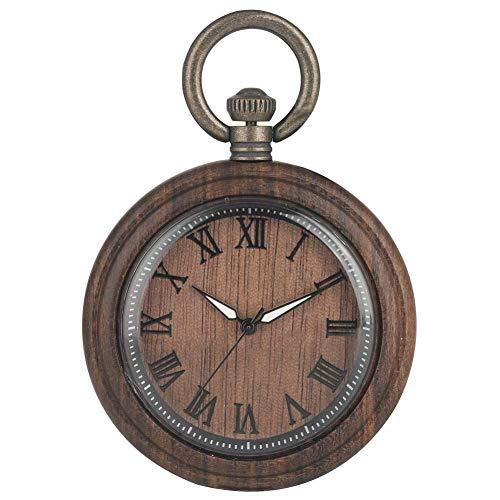 Elegante reloj de bolsillo de ébano marrón oscuro para hombres, punteros luminosos disponibles, relojes de bolsillo de cuarzo para esposo, esfera grande con números romanos, reloj colgante para esposa