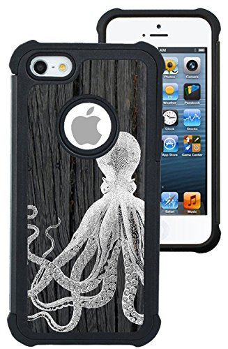 CorpCase iPhone 5 Case / iPhone 5S Case / iPhone SE Case - Octopus On Dark Wood/ Hybrid Unique Case With Great Protection