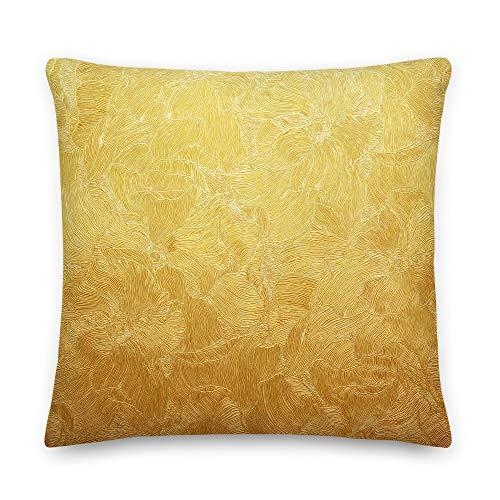 Daily996 - Almohada premium con terciopelo de imitación 3D amarillo para dormitorio, sofá, poliéster, Blanco, 22×22