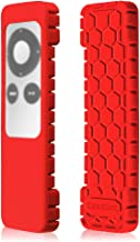 Fintie Protective Case for Apple TV 2 3 Remote Controller - Casebot (Honey Comb Series) Light Weight (Anti Slip) Shock Proof Silicone Sleeve Cover, Red