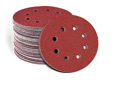 Fandeli, 36210, discos de papel de lija de gancho y bucle, lijadoras orbitales, surtido de grano 80, 120, 220, 125 mm (5 pulgadas) 8 agujeros, caja aleatoria de 50 piezas premium, hojas redondas