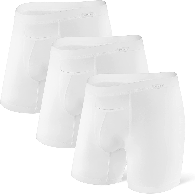 DAVID ARCHY Men's 3 Pack Premium Supima Cotton Underwear Soft Boxer Briefs with Fly