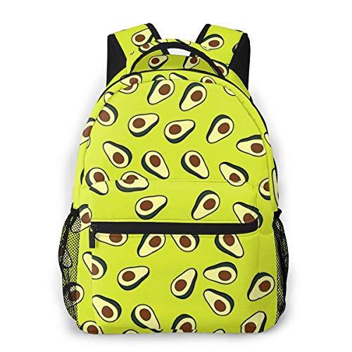 Boys Girls Casual Backpack,Lightweight College Book Bags,Men Women Daypack,Adult Travel Rucksack,Laptop Bags,Avocado Pattern