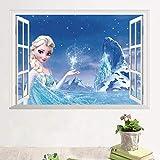 Dibujos Animados Frozen Princess 3D Ventana Pegatinas De Pared Para Niñas Niños Decoración De La Habitación Extraíble Niños Dormitorio Cartel Calcomanía