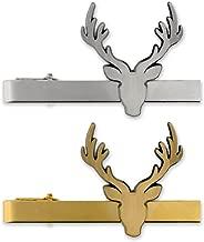 PinMart Deer Antlers Tie Clip Tie Bar - Antique Gold or Silver