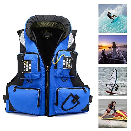 GAYBJ Prueba CE Chaqueta del Chaleco de flotabilidad Chalecos de natación Chaqueta Adult Swim Impacto Chaleco Chaquetas de natación Ayuda a la flotabilidad para los Deportes acuáticos,Azul,XL