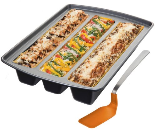 Chicago Metallic Lasagna Trio Pan, 12-Inch by 15-Inch by 3-Inch (11-1/2-Inch by 2-1/2-Inch Cavities)