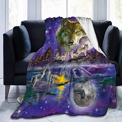 Brüllende Wölfe im Sternenhimmel Lila Ultraweiche Micro-Fleece-Decke für Bettsofa Camping 50x40in