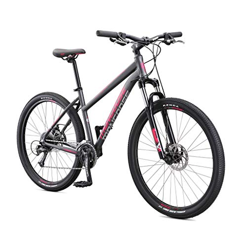 Mongoose Switchback Comp Adult Mountain Bike, 9 Speeds, 27.5-inch Wheels, Womens Aluminum Small Frame, Grey