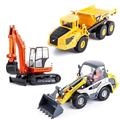 TGRCM-CZ Construction Toys, Zinc Aloy Construction Site Play Set 3Pcs, Dump Truck, cavator/Digger, Bulldozer Metal Tractor Toy, Toys Car for 3, 4, 5, 6 Year Olds, Toddlers, Boys, Kids