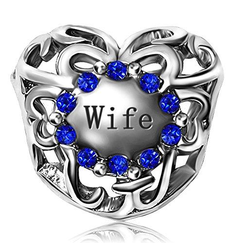 JMQJewelry Wife Love Husband Heart Birthday Birthstone January-Dec Charms for Bracelets Women Girls Jewelry Mothers Grandmas Gifts