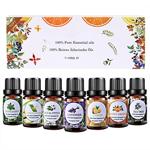 Huiles Essentielles Aromathérapie Top7 x 10ml, Huiles Essentielles 100% Pures & Naturelle...
