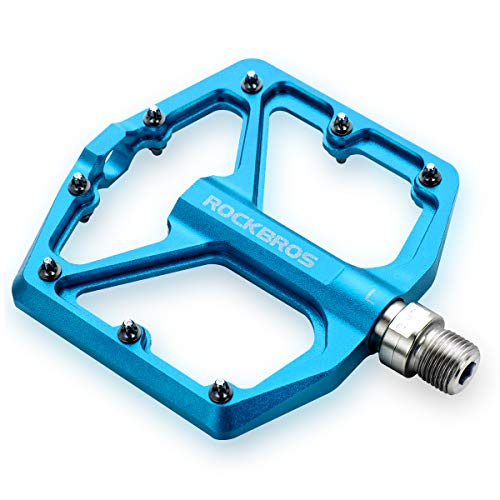 ROCKBROS Mountain Bike Pedals MTB Pedals Bicycle Flat Pedals Aluminum 9/16' Sealed Bearing Lightweight Platform for Road Mountain BMX MTB Bike (Blue)