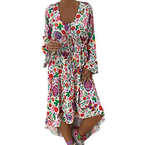 Damen Kleid Partykleid Cocktailkleid,Langärmliges weites Kleid mit Print Plus Size Loose Print Langarm Knielanges Kleid mit unregelmäßigem Saum S-5XL