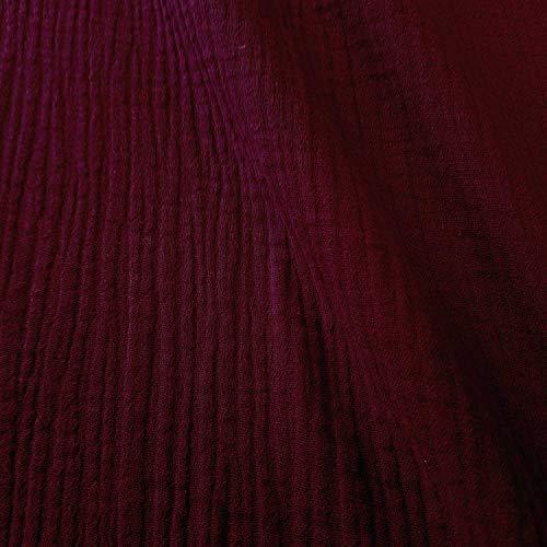 Meterware Stoff Baumwolle Musselin Bordeaux Uni Mulltuch Kleiderstoff Double Gauze Windeltuch Spucktuch Meterpreis