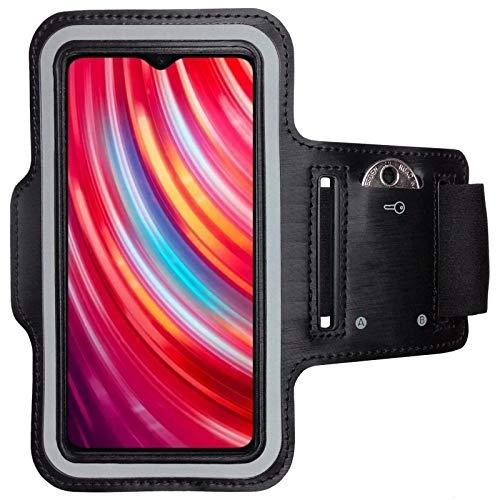 CoverKingz Sportarmband für Xiaomi Redmi Note 8 Pro - Armtasche mit Schlüsselfach Redmi Note 8 Pro - Sport Laufarmband Handy Armband Schwarz