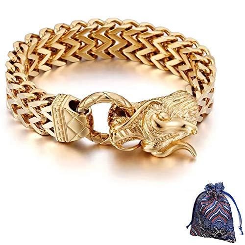 WLXW Collar de Acero Inoxidable, Brazalete Chapado en Oro de 24K con Cabeza de Dragón Estilo Punk Nórdico, Joyería de Moda para Hombres Y Mujeres, Exquisita Bolsa de Regalo, 25 Cm