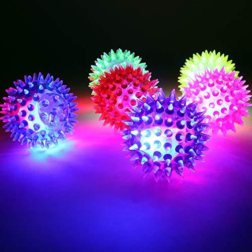 PhiLuMo 12 x LED Flummi Igel/Stern/Springball mit Licht - LED beleuchtet - gelb, pink, rot, grün & lila