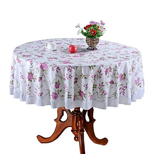 wjmss Impermeable PVC Mantel Redondo Moda Moda Impresión de Moda Blanco Mantel de Lace de 3 Pulgadas para Party Home Fiesta Cafe Uso al Aire Libre,120 * 152cm