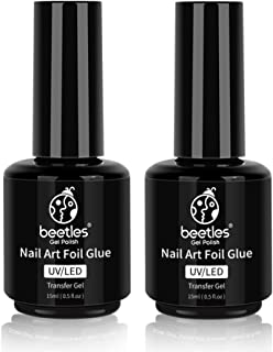 Beetles Nail Art Foil Glue Gel for Foil Stickers Nail Glue Transfer Tips Star Glues Nail Art Manicure DIY UV LED Lamp Required Soak Off 15ML 2 Bottle