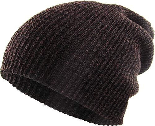 KBW-10 BRN Heather Slouchy Beanie Skull Cap Hat