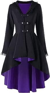 YESWOMAN Women Irregular Top Slim Fit Casual Outwear Long Sleeve Lace Splice Dress Ladies Formal Coat Party Costumer