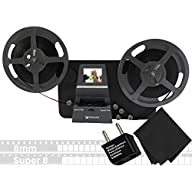 Wolverine 8mm & Super 8mm Reels to Digital MovieMaker Pro Film Digitizer, Film Scanner, Microfiber Cleaning Cloth, Dual Voltage 100-240V AC Adapter & International Two-Prong Round Pin Plug Adapter with Reels