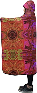 YIJIEVE Hooded Blanket Pattern Abstract Art Decoration Artistic Shape Blanket 60x50 Inch Comfotable Hooded Throw Wrap