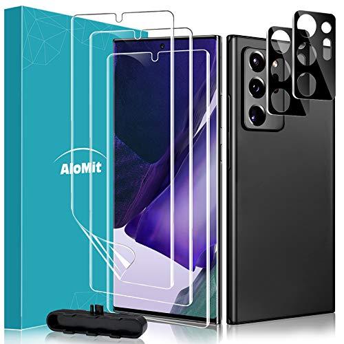 AloMit Protector Pantalla Galaxy Note 20 Ultra [3*Protector de Pantalla de TPU+2*Película de Lente de Cristal] Alta Sensibilidad, Protector de Pantalla para Samsung Galaxy Note 20 Ultra 2020