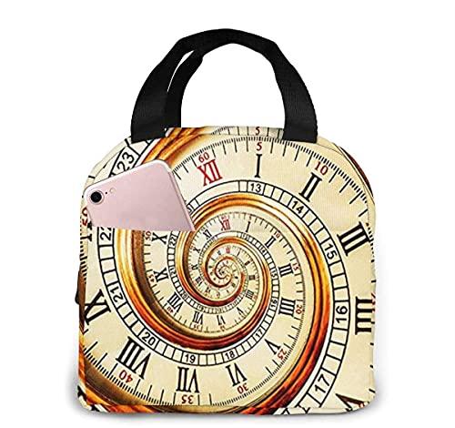 Bolsa de almuerzo con aislamiento de cara de reloj clásico Swirly para mujeres y hombres, bolsa de almuerzo reutilizable, organizador de caja de almuerzo, bolsa refrigeradora con bolsillo frontal