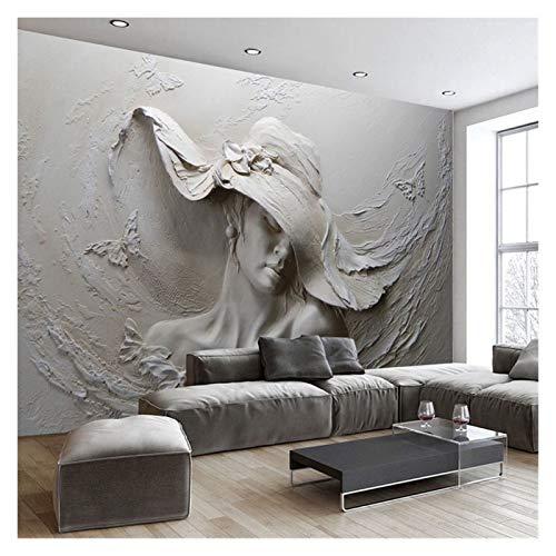 WHYBH HYCSP Stereoscopic Geprägte Grau Schönheit Ölgemälde der modernen abstrakten Kunst Wandbild Wohnzimmer Schlafzimmer Tapete 1 □ (Color : Gray)