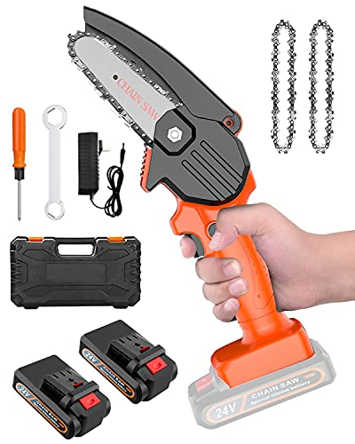 Mini Chainsaw Cordless-Electric Chain Saw,4 INCH Hand Battery Chainsaw with Safety Lock,Small Handheld Chain Saws for Cutting WoodwoodTreesGardening Pruning (Included 2Batteries,3 Chains)