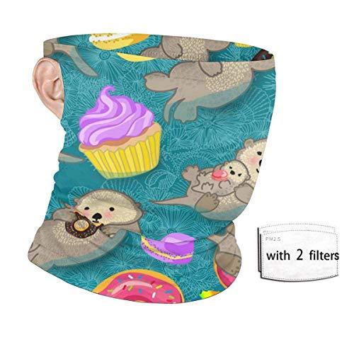 ENZOOIHUI Donut Cupcakes Bebé Nutrias significativas Bufanda de la Cara sin Costuras Bucles de Oreja con 2 filtros Anti-Polvo Cuello Polaina Sombreros Pasamontañas