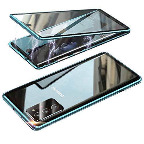 Hülle für Samsung Galaxy S20 Ultra 5G Magnetisch Handyhülle, Metall Aluminium Rahmen Transparentes gehärtetes Glas Vorder- und Rückseite mit Kamera Schutz 360 ° Komplett Schutz Cover,Blau